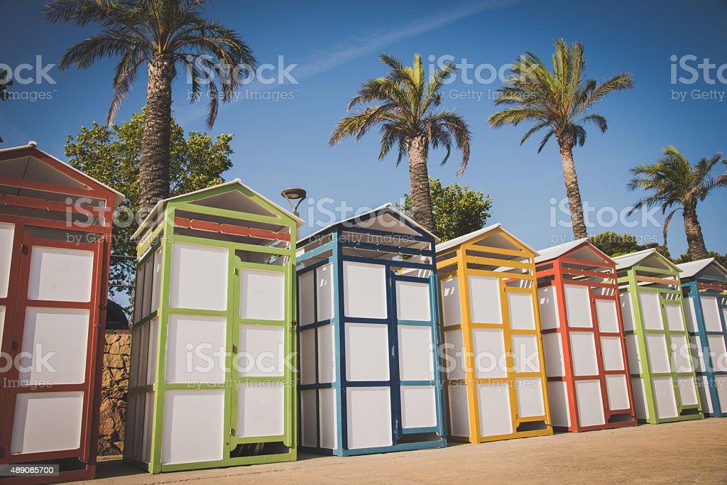 Beautiful beach dressing rooms stock photo