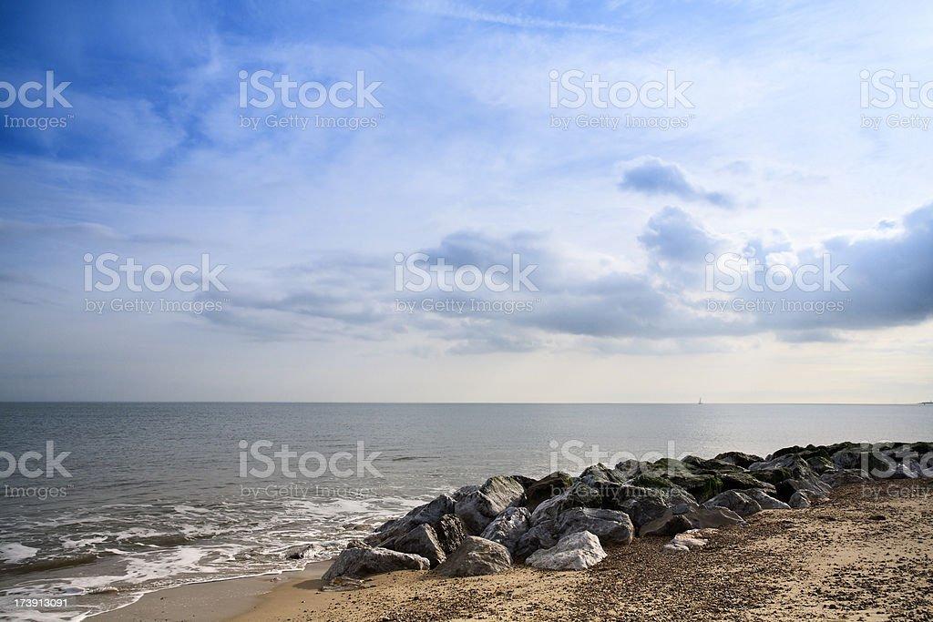Beautiful beach, Felixstowe, UK stock photo