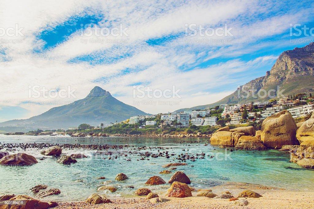Beautiful beach in Cape Town stock photo