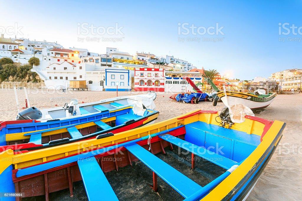 Beautiful beach in Carvoeiro, Algarve, Portugal stock photo