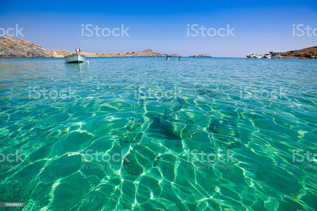 Beautiful beach in Greece stock photo