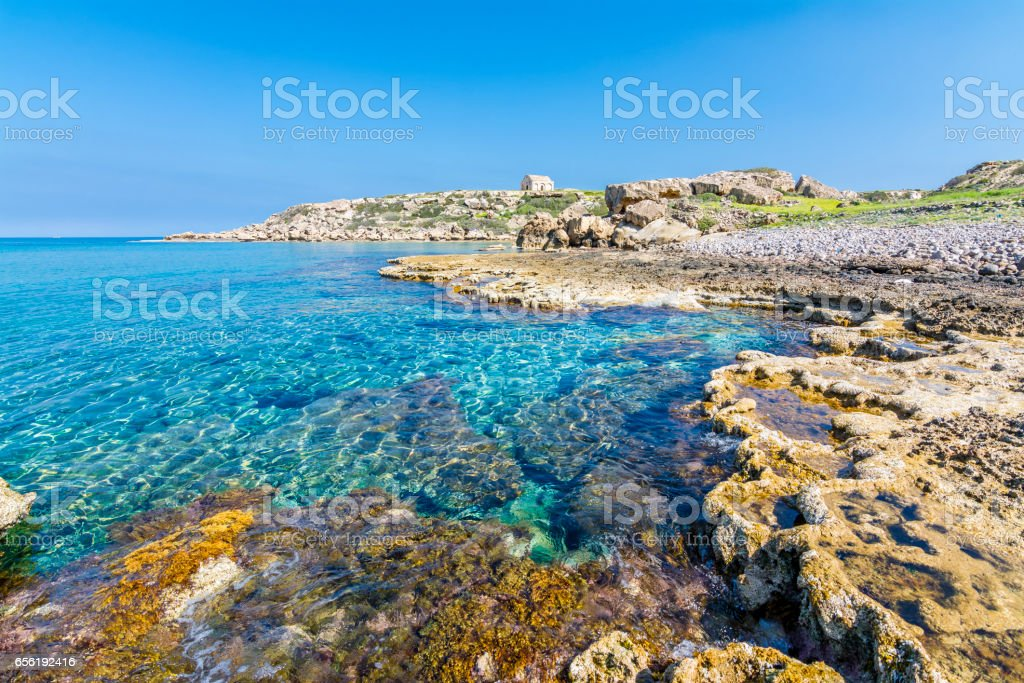 A beautiful beach in Karpaz region of Northern Cyprus stock photo