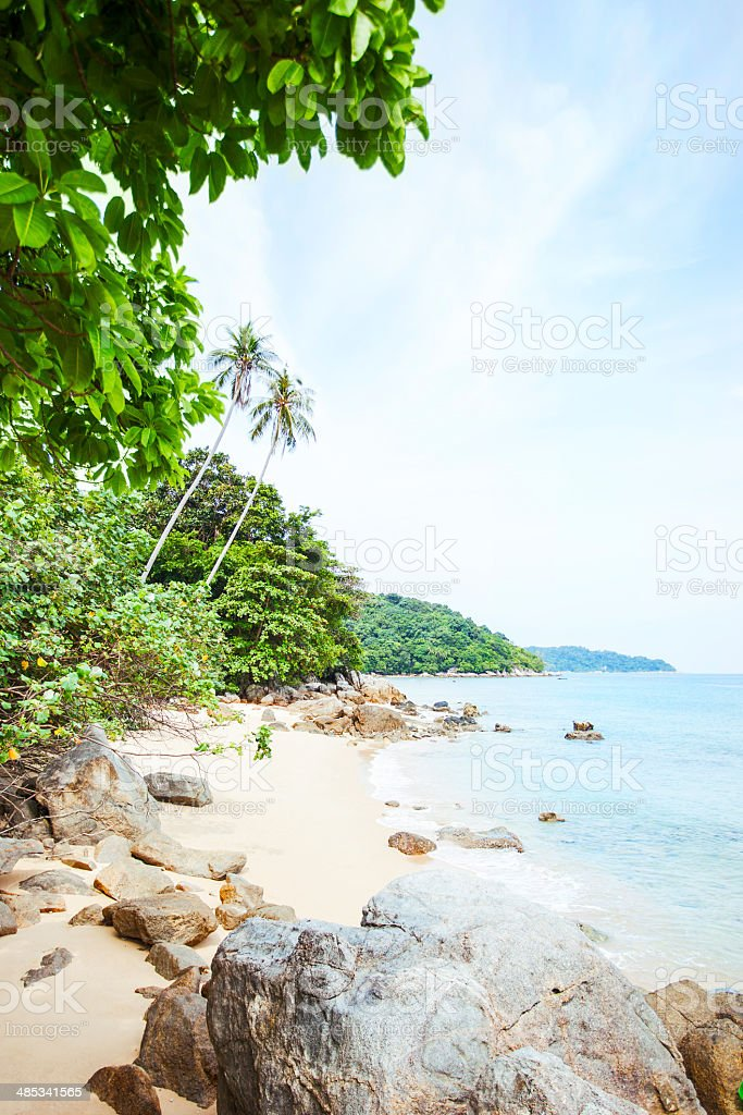Beautiful beach in Malaysia's coast. stock photo