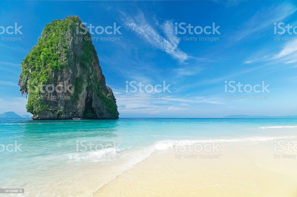 Beautiful beach in paradise with clear water and blue skies stock photo