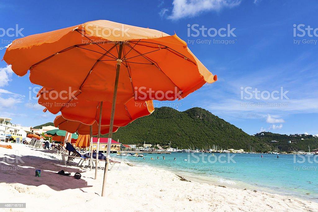 Beautiful beach in Philipsburg, Saint Martin, Carribean Islands stock photo