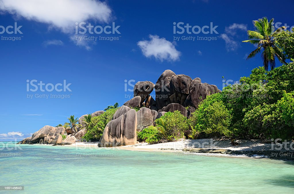 A beautiful beach in the Seychelles stock photo