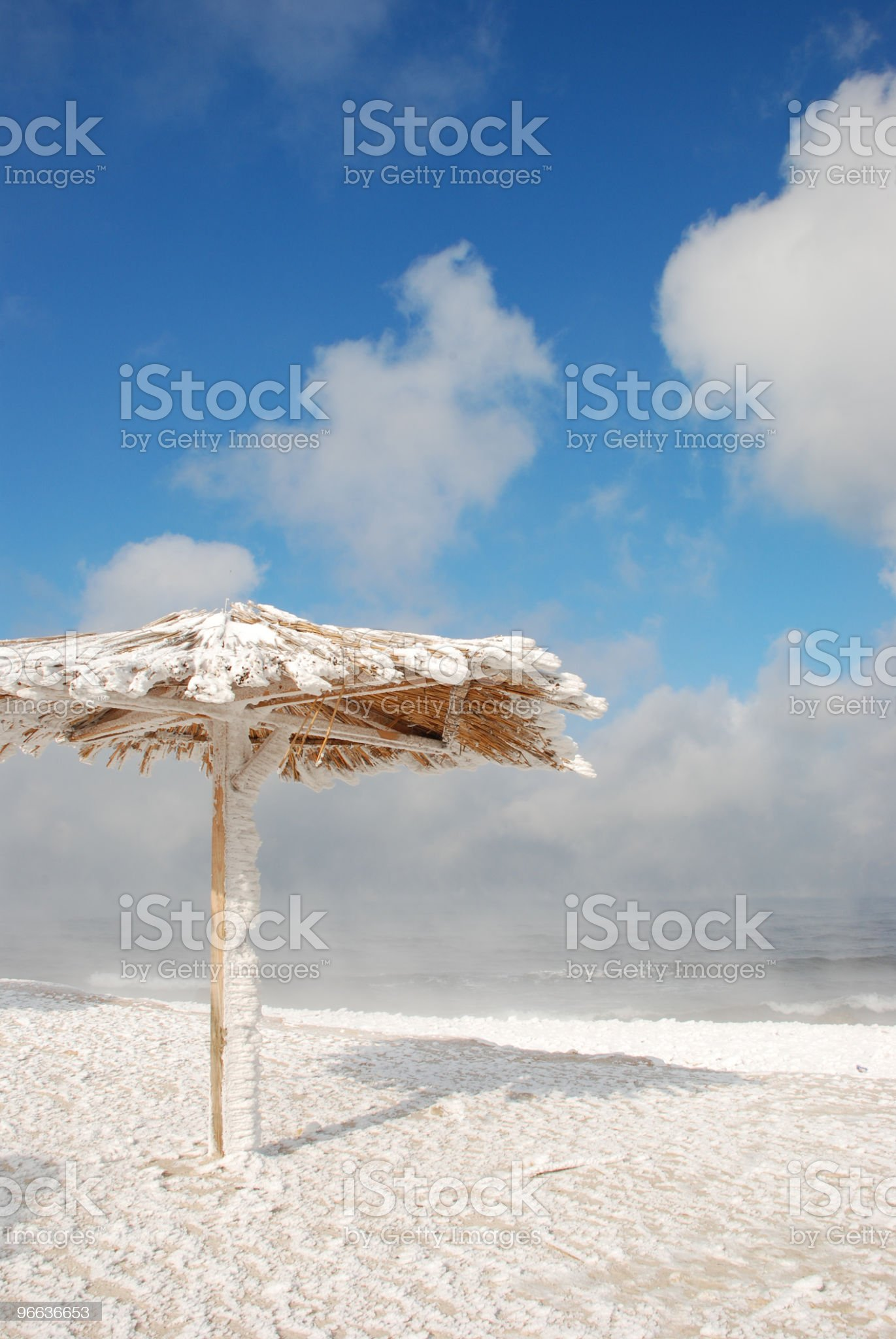 beautiful beach in the winter snow royalty-free stock photo