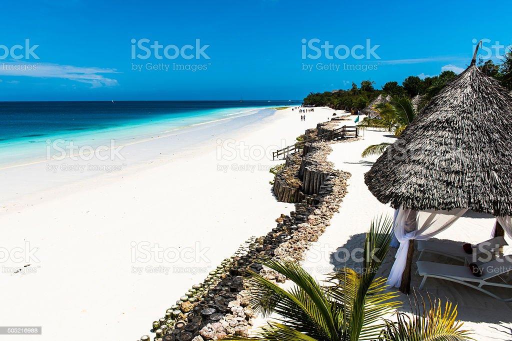 Beautiful Beach in Zanzibar stock photo