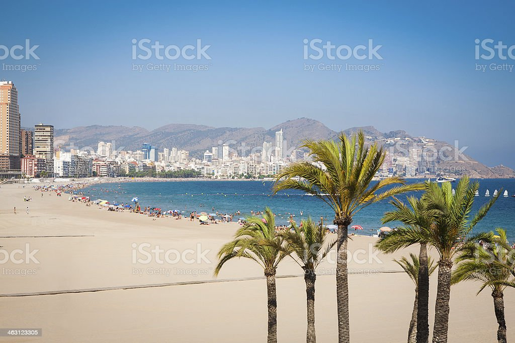 Beautiful beach of Benidorm showing city in the back stock photo