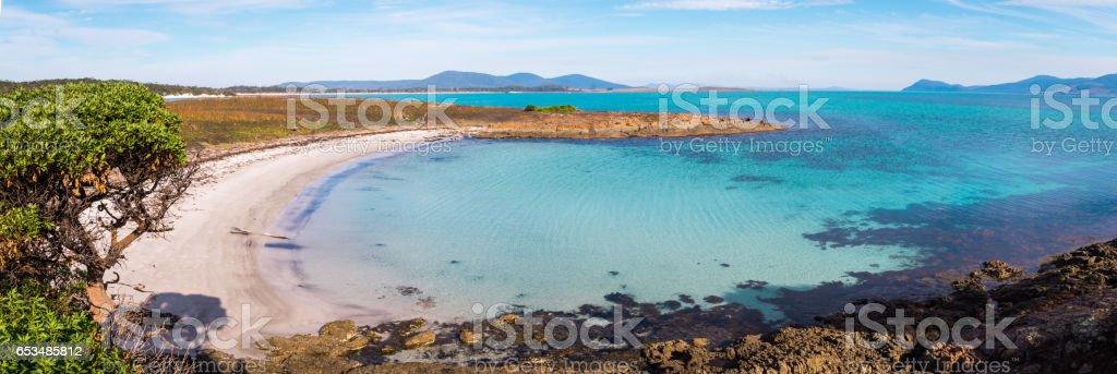 Beautiful beach on Maria Island, Tasmania, Australia stock photo