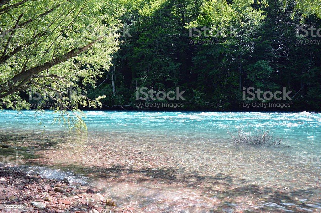 Beautiful Beach Pure clean Drina river in Bosnia stock photo