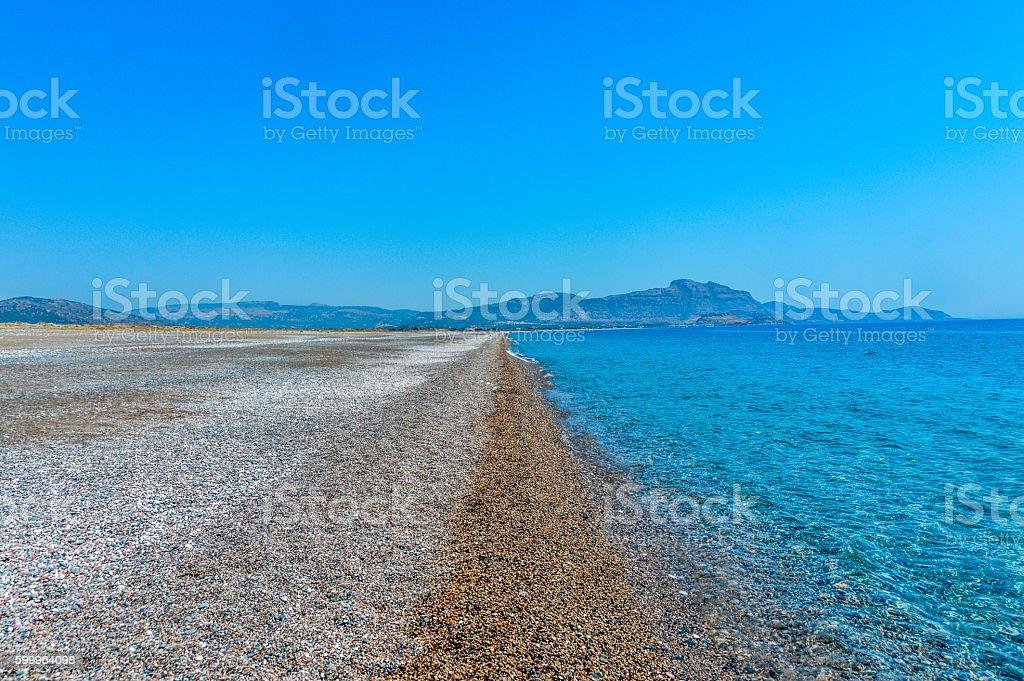 Beautiful beach scenary in the Greek Islands stock photo