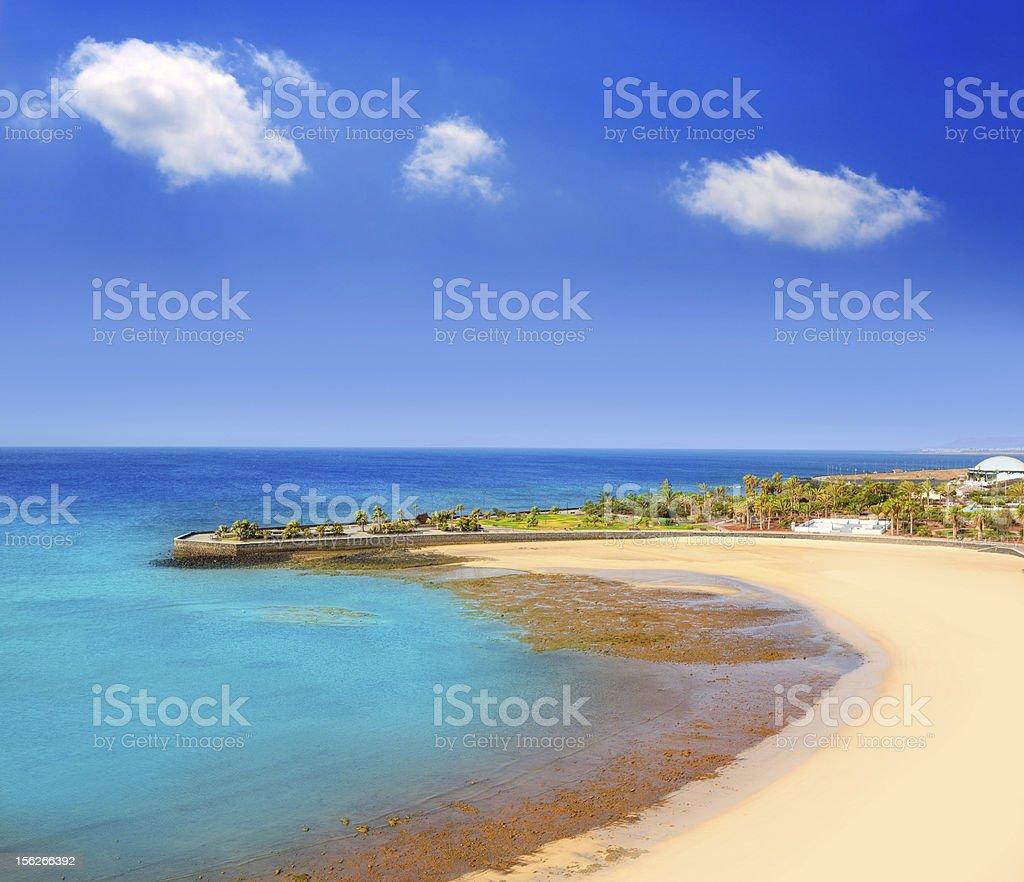 A beautiful beach shoreline on a sunny day  stock photo
