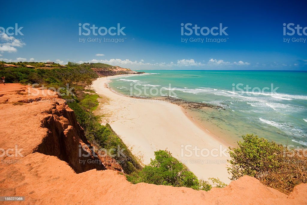 Beautiful beach with palm trees at Praia do Amor in Brazil  stock photo