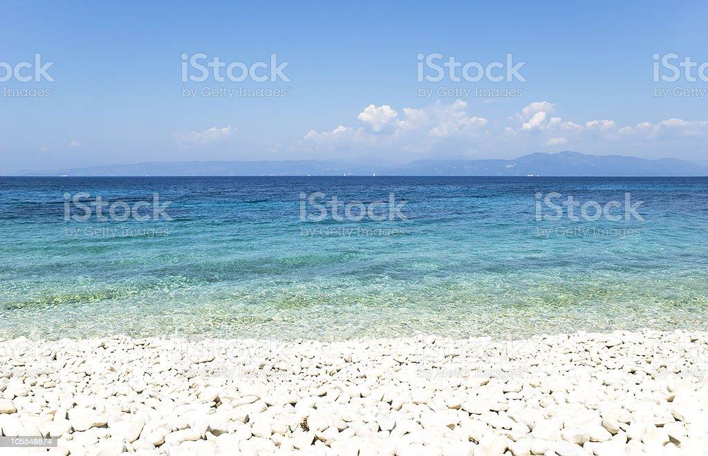beautiful beach with pebbles. stock photo