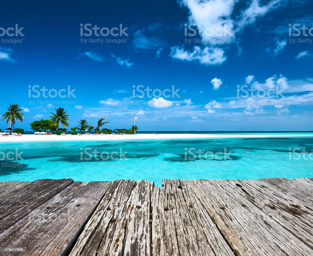 Beautiful beach with sandspit at Maldives stock photo