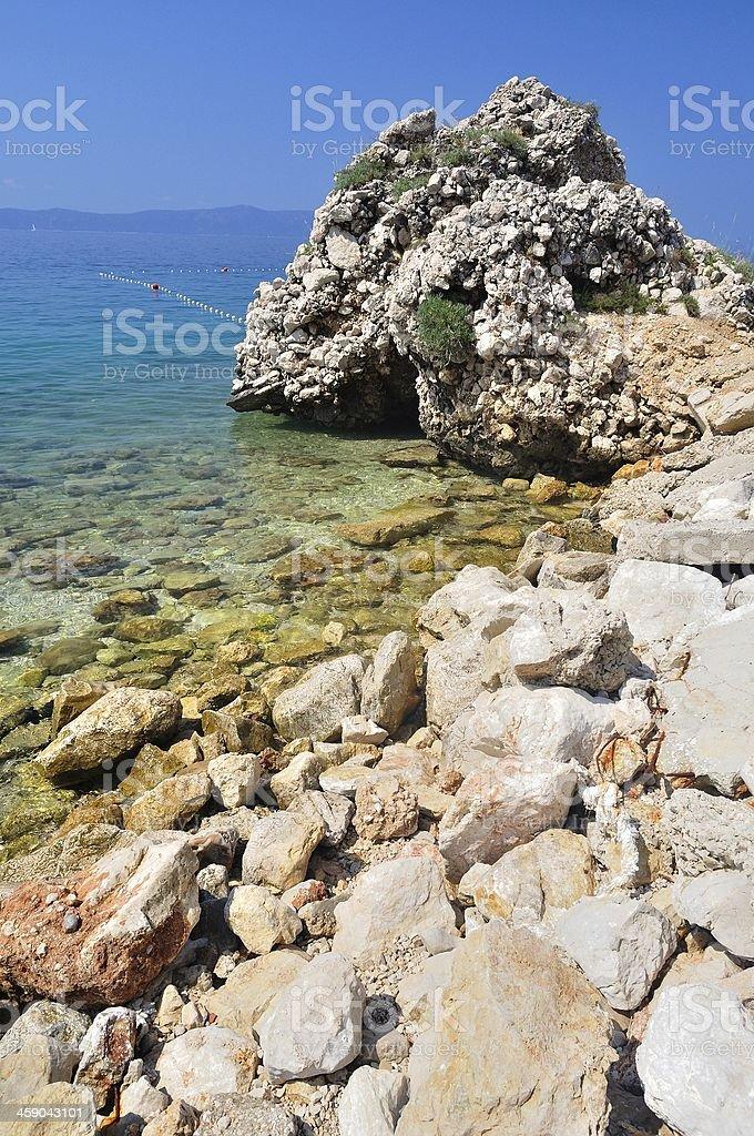 Piękna plaża z kamieni na Podgora, Chorwacja zbiór zdjęć royalty-free