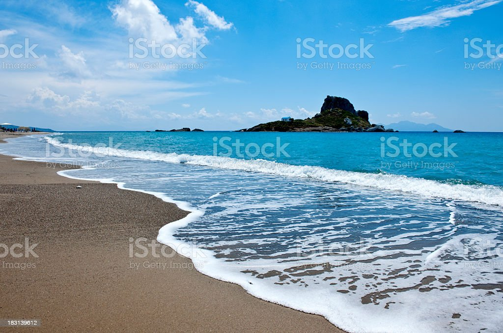 A beautiful beach with turquoise sea in Greece royalty-free stock photo