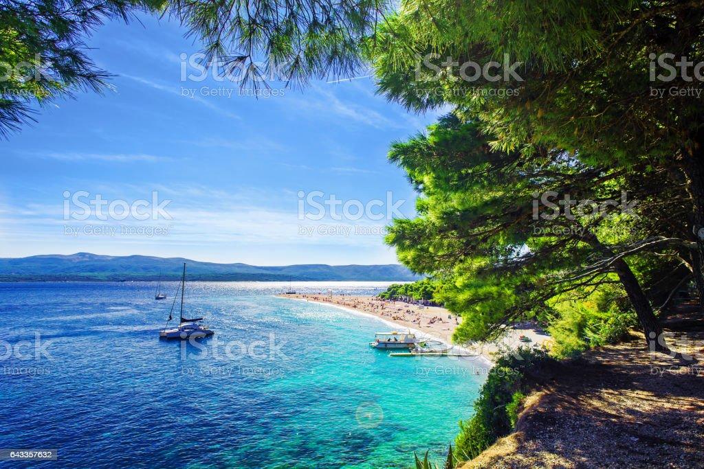 Beautiful beach Zlatni Rat or Golden Cape on island Brac stock photo