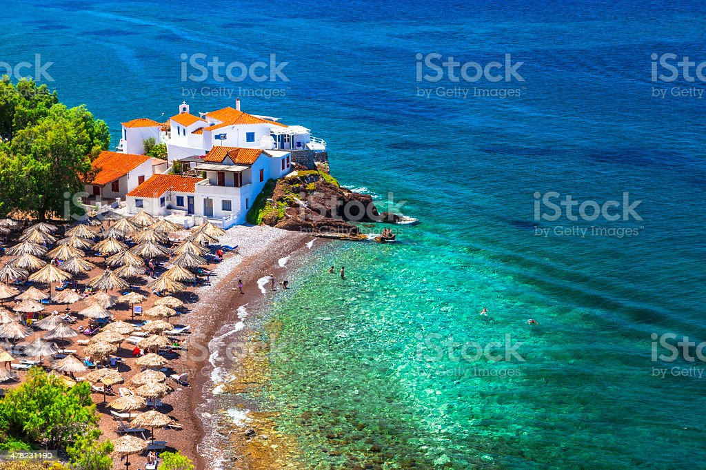Beautiful Beaches of Hydra,Saronic,Greece. stock photo