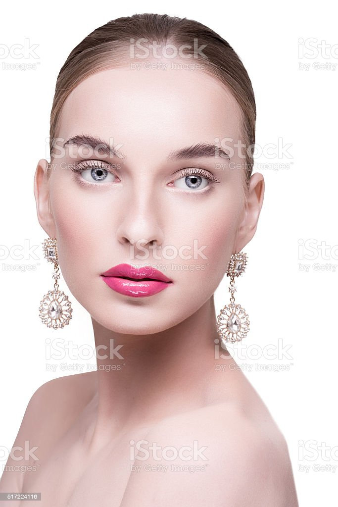 beautiful beautiful white woman with earrings stock photo