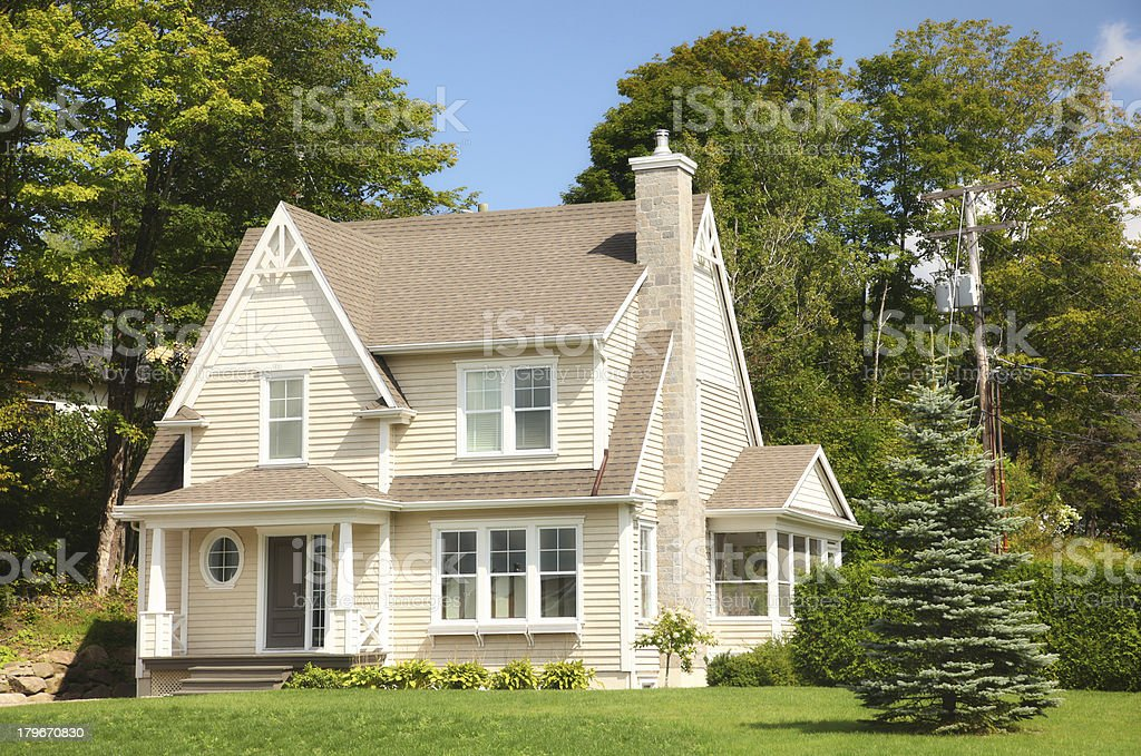 Beautiful Beige Country Home royalty-free stock photo