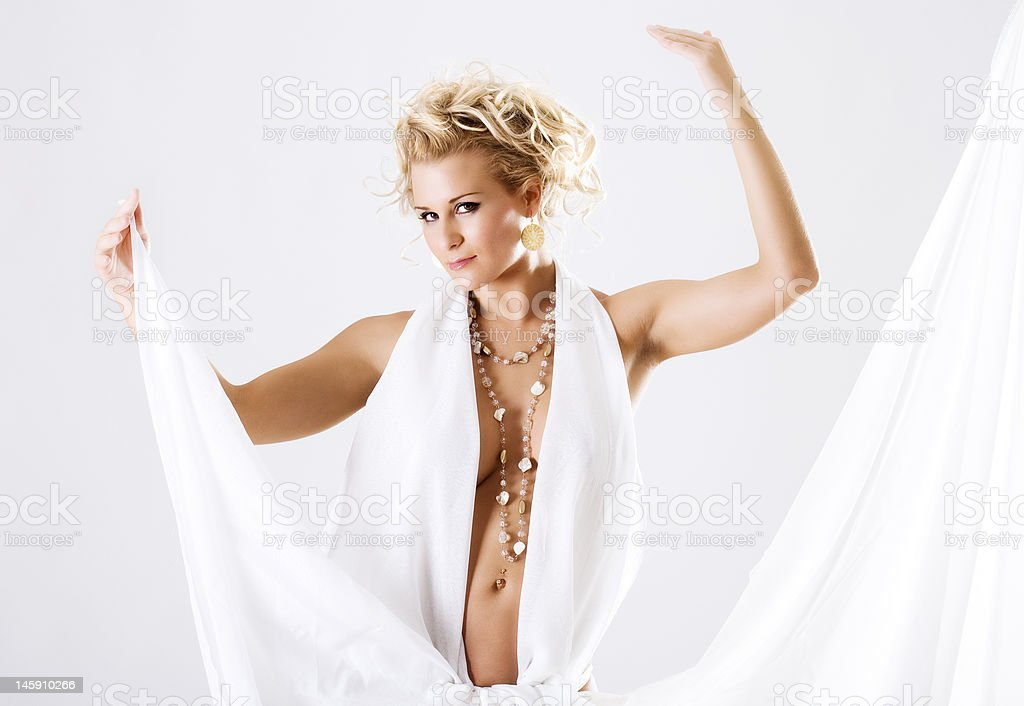 Beautiful belly dancer high key royalty-free stock photo