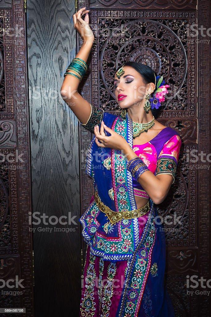 Beautiful belly dancer woman stock photo