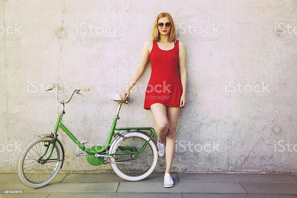 Beautiful bicycle girl stock photo
