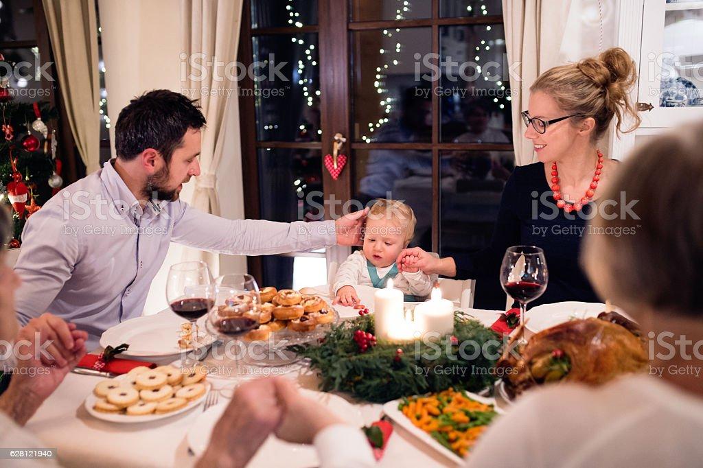 Beautiful big family celebrating Christmat together stock photo