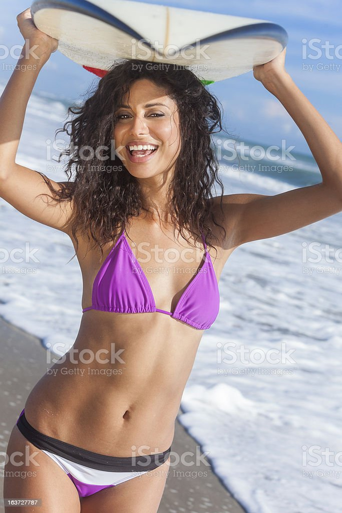 Beautiful Bikini Woman Girl Surfer & Surfboard Beach royalty-free stock photo