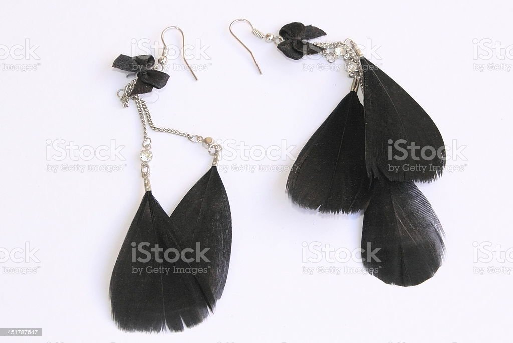 beautiful black feather earrings royalty-free stock photo