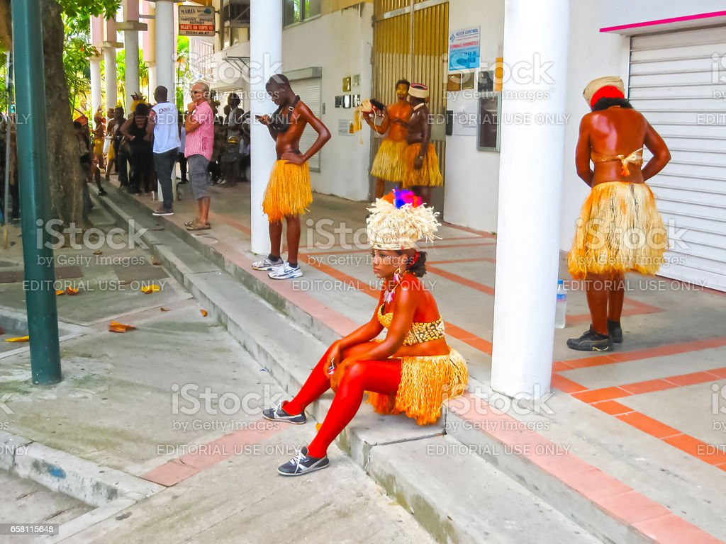 Point-a-Pitre, Guadeloupe - February 09, 2013: Beautiful black girl at the Caribbean Carnival stock photo