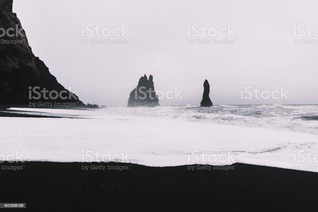 Beautiful black sand beach in Iceland stock photo