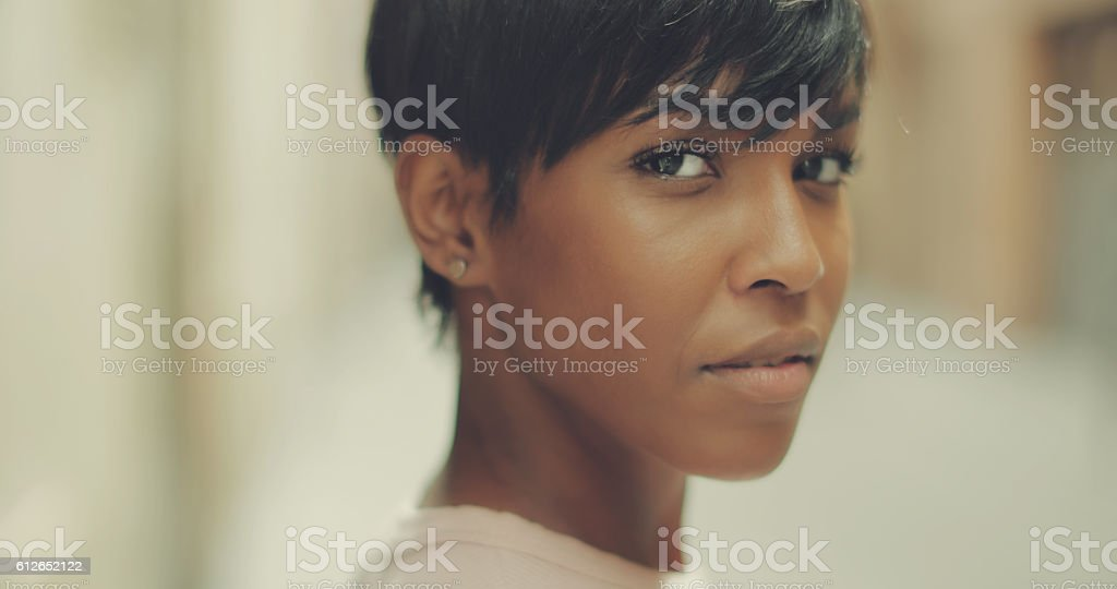 Beautiful black woman portrait stock photo