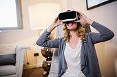 Beautiful blond female in virtual reality