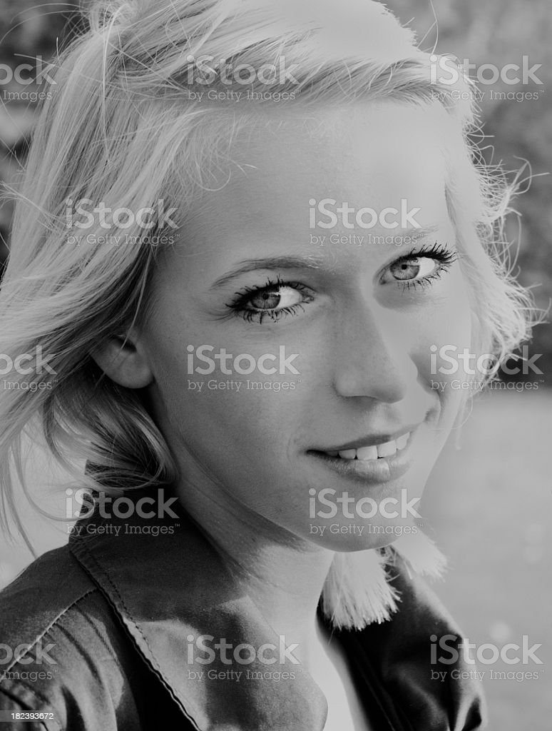 beautiful blond girl, head and shoulder portrait,  B&W stock photo