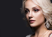 beautiful blond girl in image of the bride with wedding