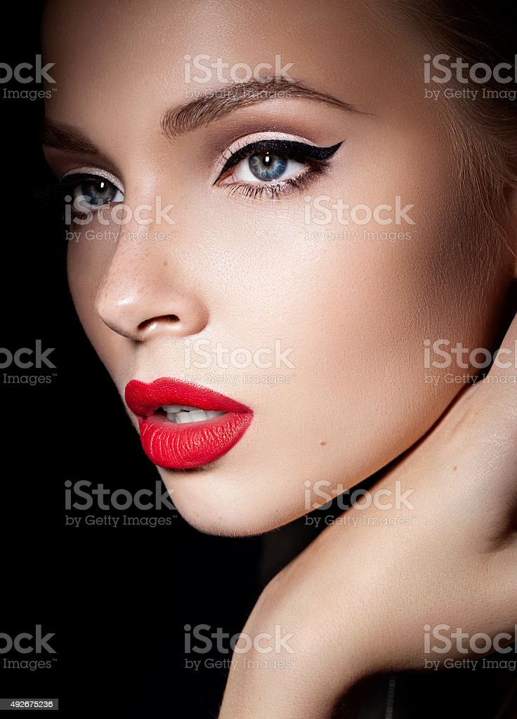 beautiful blond girl with red lips stock photo