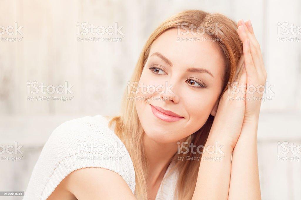Beautiful blond lady posing stock photo