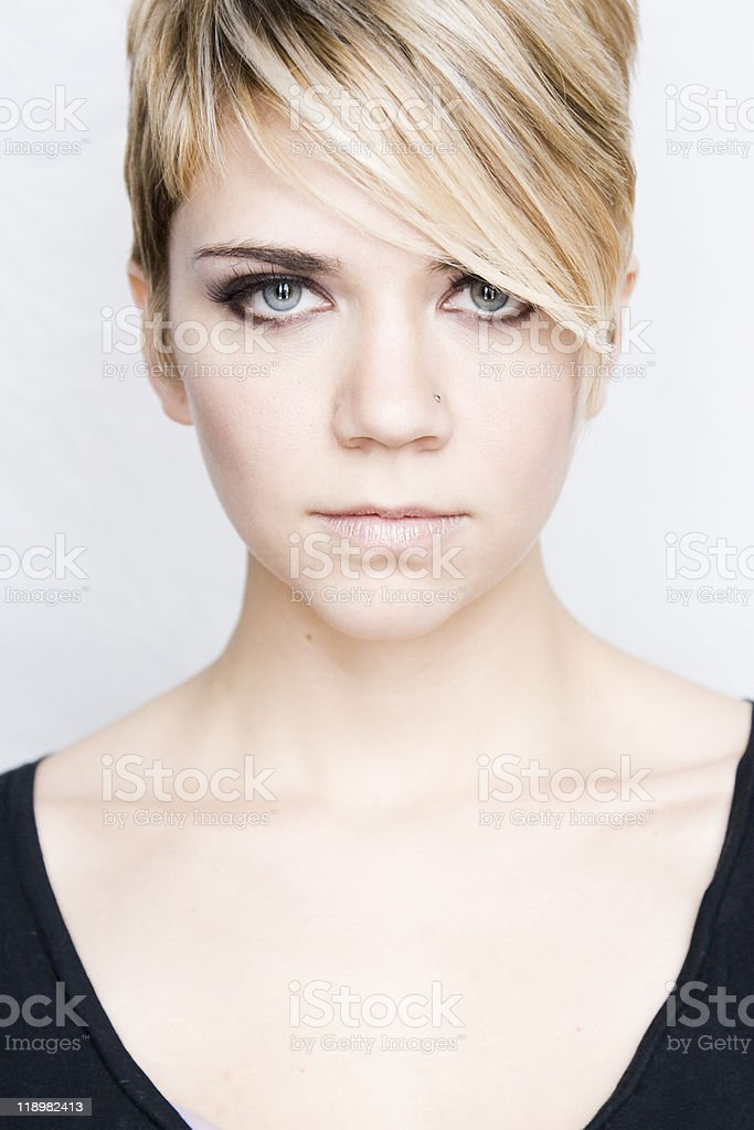 Beautiful Blond with Blue Eyes and short hair stock photo