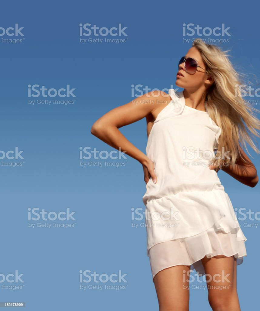 beautiful blond woman, freedom, liberty concept stock photo