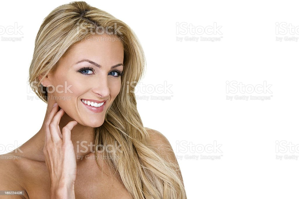 Beautiful blond woman smiling royalty-free stock photo