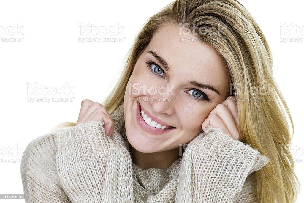 Beautiful Blond woman wearing a sweater royalty-free stock photo