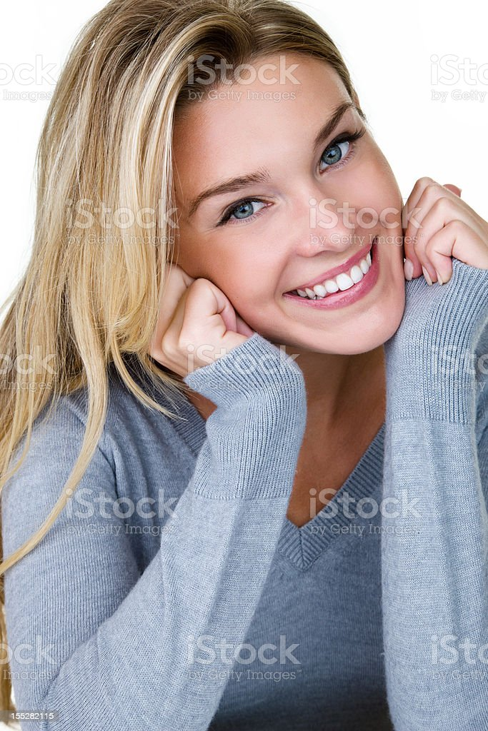 Beautiful blond woman with cheerful expression royalty-free stock photo