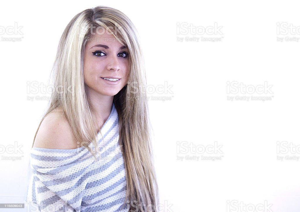 Beautiful Blond Young Adult Bared Her Shoulder stock photo