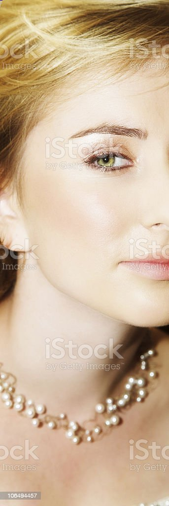 beautiful blond young bride with large green eyes royalty-free stock photo