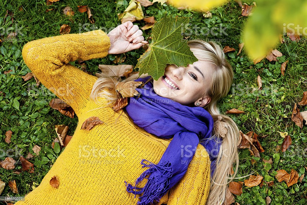 Beautiful blond young woman - autumn portrait royalty-free stock photo