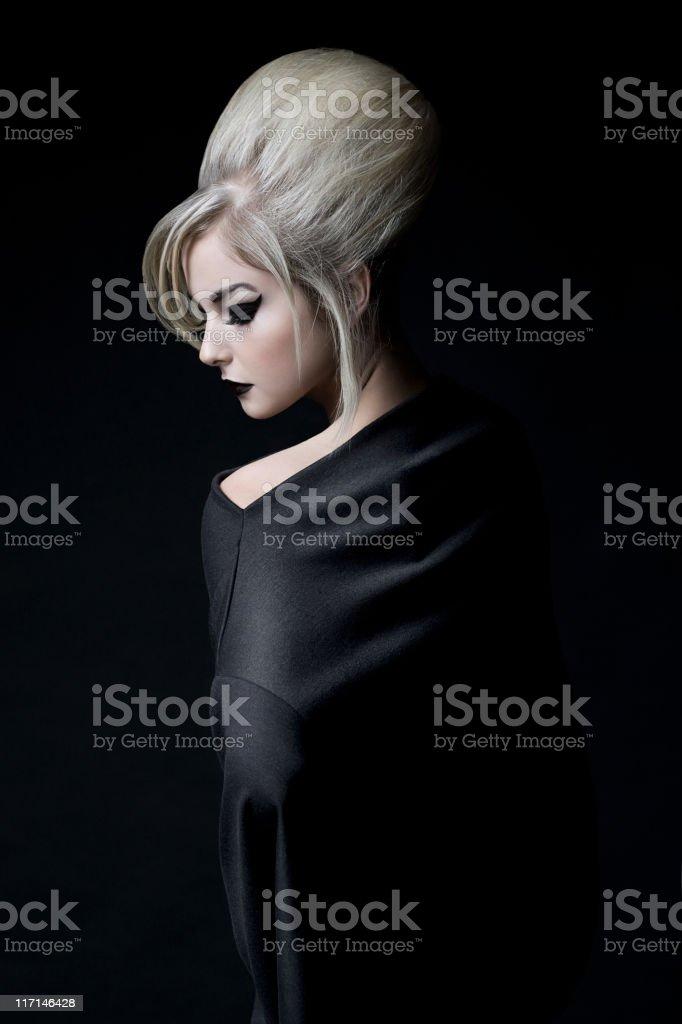 Beautiful Blond Young Woman Fashion Model, Asian Makeup, Updo royalty-free stock photo