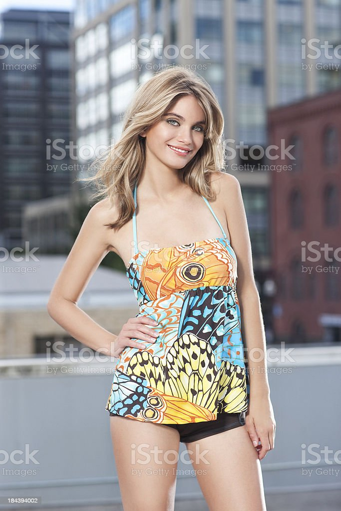 Beautiful Blond Young Woman Fashion Model in Retro Swimsuit Outdoors royalty-free stock photo